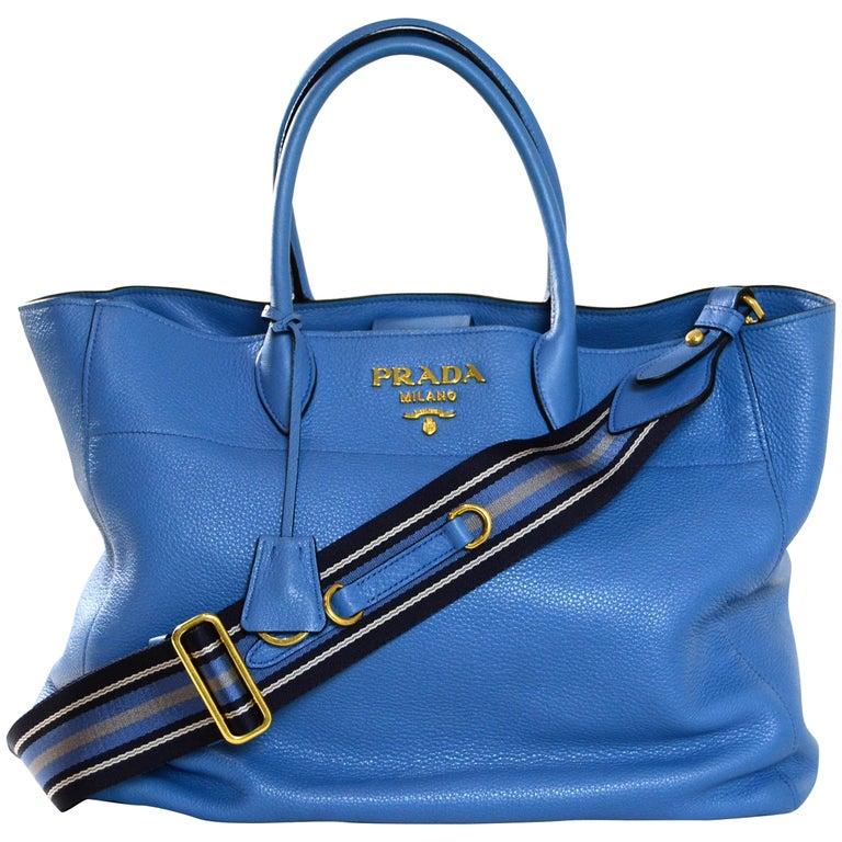 Prada Mare Blue Vitello Daino Leather Tote Bag w/ Strap rt. $1,970 For Sale