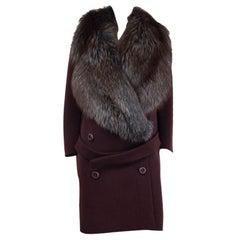PRADA maroon brown wool OVERSIZED FUR COLLAR RUNWAY Coat Jacket 44 L