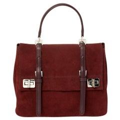 Prada Maroon Suede and Leather Double Turn Lock Top Handle Bag