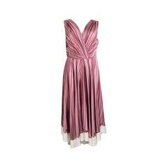 PRADA mauve pink silk DRAP PRINT Sleeveless Dress 42