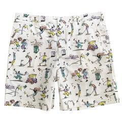 Prada Mens Golf Print White Cotton Shorts Size 52 S/S 2012