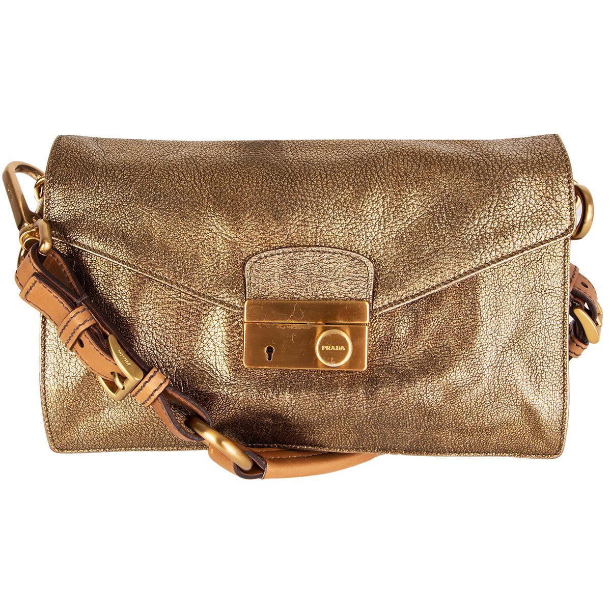 PRADA metallic antique gold leather BERLINO SOUND Shoulder Bag