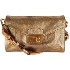 PRADA metallic antique gold leather BERLINO SOUND Shoulder Bag