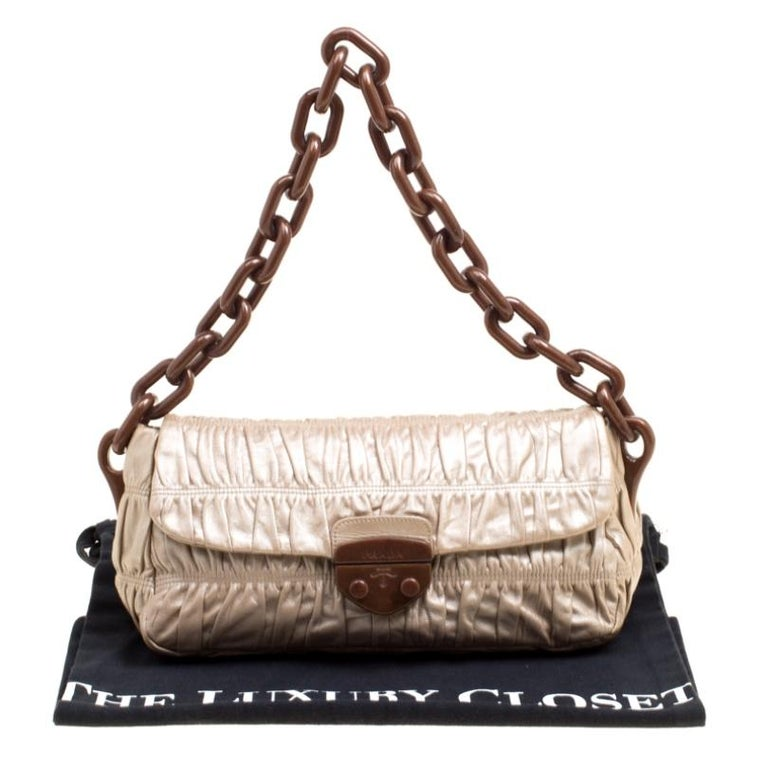 Prada Metallic Beige Leather Gaufre Chain Shoulder Bag For Sale 7