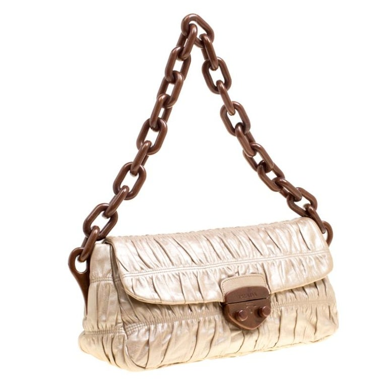 Women's Prada Metallic Beige Leather Gaufre Chain Shoulder Bag For Sale