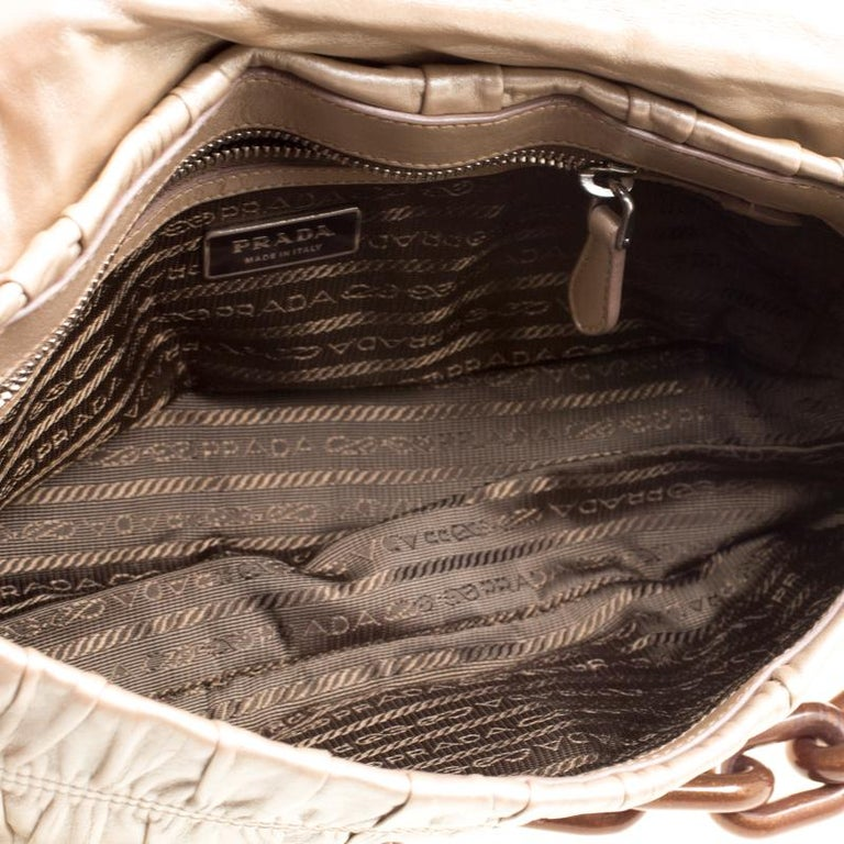 Prada Metallic Beige Leather Gaufre Chain Shoulder Bag For Sale at ... aa077579b1