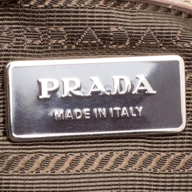 Prada Metallic Beige Leather Gaufre Chain Shoulder Bag For Sale 5