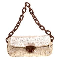 Prada Metallic Beige Leather Gaufre Chain Shoulder Bag