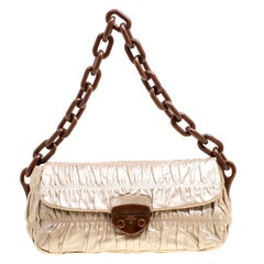 Prada Metallic Beige Leather Gaufre Chain Shoulder Bag