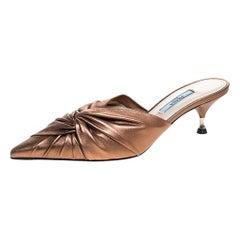 Prada Metallic Bronze Leather Kitten Heel Twist Mules Size 36.5