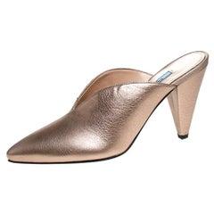 Prada Metallic Bronze Leather Pointed Toe Cone Heel Mules Size 38