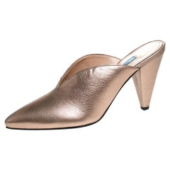 Prada Metallic Bronze Leather Pointed Toe Cone Heel Mules Size 39