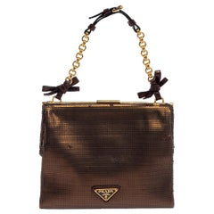 Prada Metallic Bronze Sequin Frame Clutch