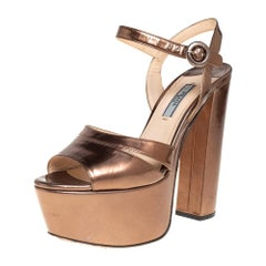 Prada Metallic Brown Patent Leather Ankle Strap Block Heel Sandals Size 37.5