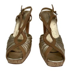 Prada metallic cork heel