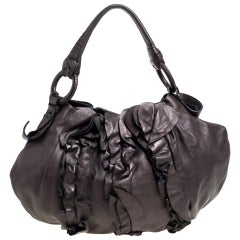 Prada Metallic Dark Brown Leather Ruffle Mordore Hobo