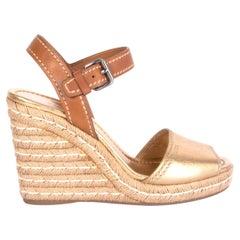 PRADA metallic gold & brown leather Wedge Espadrille Sandals Shoes 40