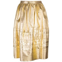 PRADA metallic gold leather A-Line Skirt 38 XS