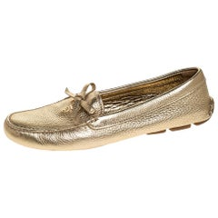 Prada Metallic Gold Leather Bow Slip On Loafers Size 38
