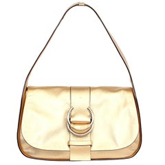 PRADA metallic gold leather Flap Shoulder Bag