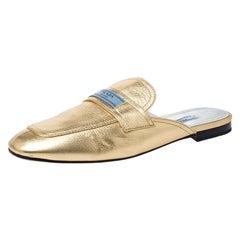 Prada Metallic Gold Leather Mule Flat Slides Size 40