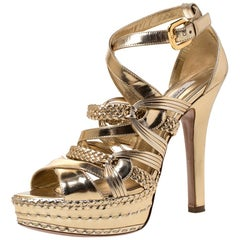 Prada Metallic Gold Leather Open Toe Ankle Strap Platform Sandals Size 40