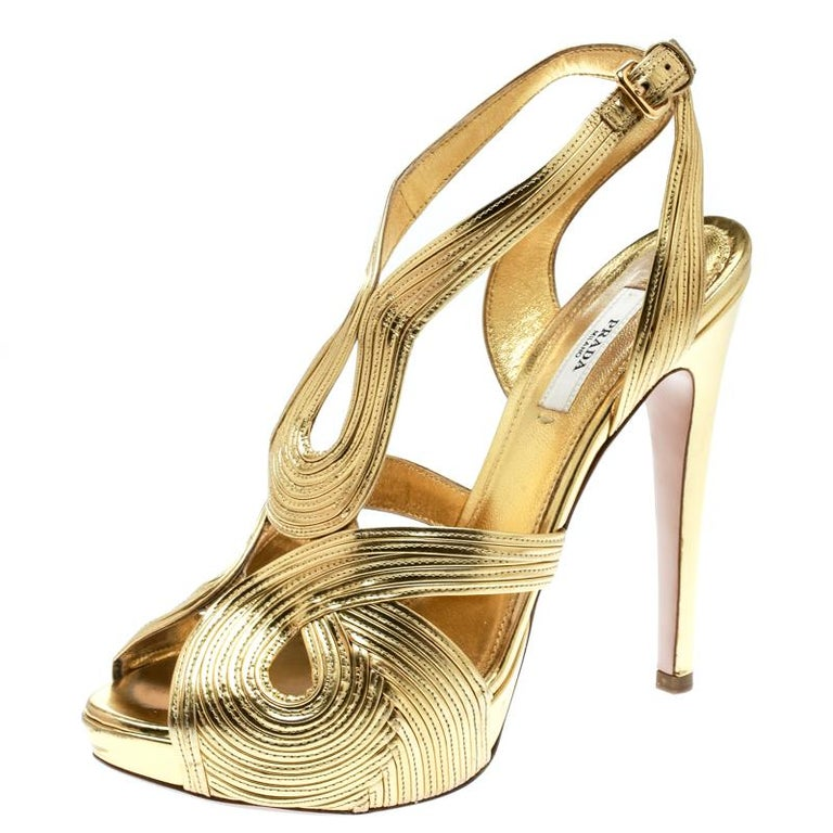 Prada Metallic Gold Leather Peep Toe Ankle Strap Platform Sandals Size 38 For Sale 2
