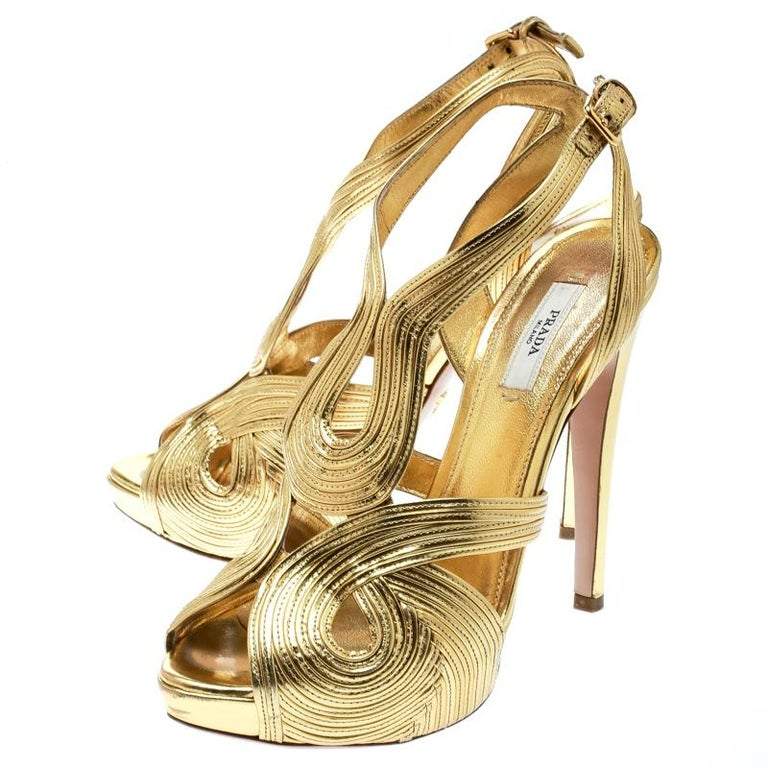 Prada Metallic Gold Leather Peep Toe Ankle Strap Platform Sandals Size 38 For Sale 3