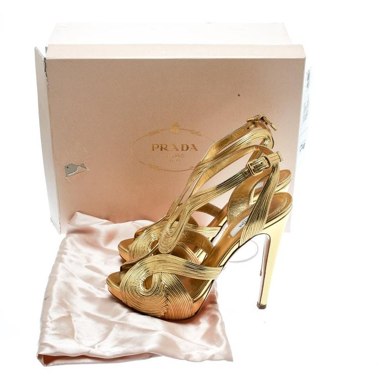 Prada Metallic Gold Leather Peep Toe Ankle Strap Platform Sandals Size 38 For Sale 4