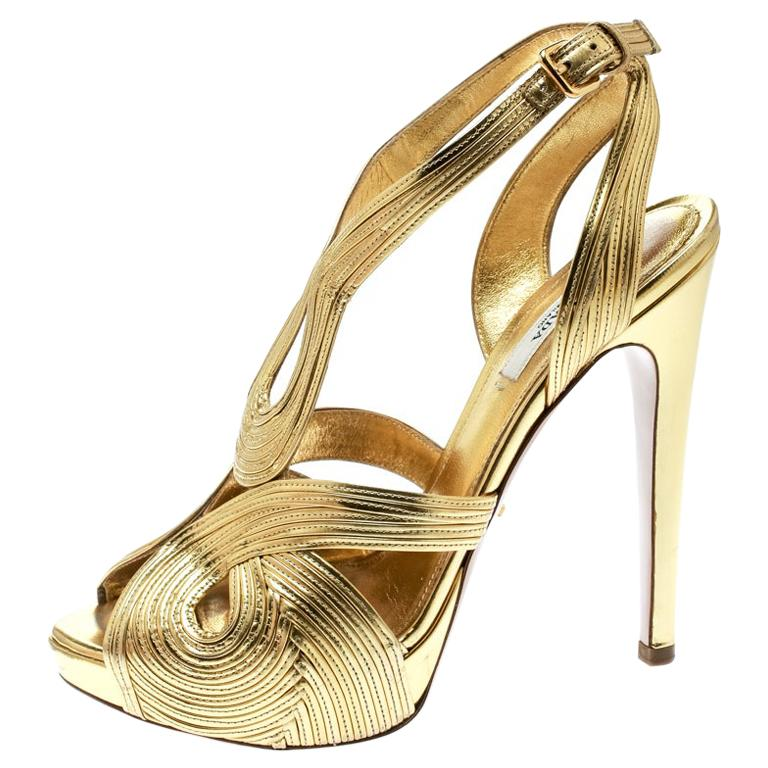 Prada Metallic Gold Leather Peep Toe Ankle Strap Platform Sandals Size 38 For Sale