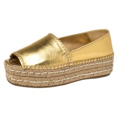 Prada Metallic Gold Leather Peep Toe Platform Espadrilles Size 37.5