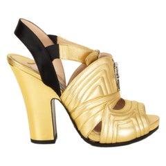 PRADA metallic gold leather QUILTED BLOCK HEEL Sandals Shoes 36.5