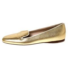 Prada Metallic Gold Saffiano Leather Smoking Slippers Size 36