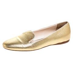 Prada Metallic Gold Saffiano Leather Smoking Slippers Size 38