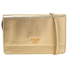 Prada Metallic Gold Saffiano Lux Leather Flap Crossbody Bag