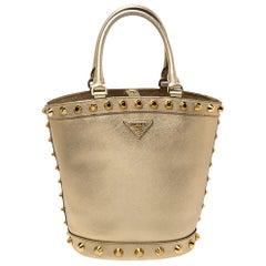 Prada Metallic Gold Saffiano Vernice Studded Bucket Bag