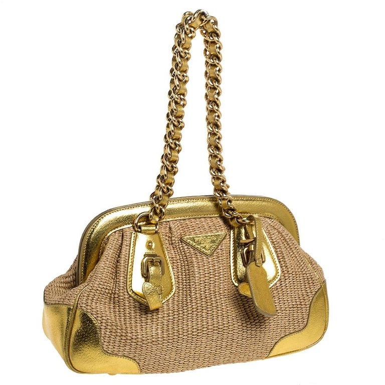 Women's Prada Metallic Gold Straw and Leather Frame Bag For Sale