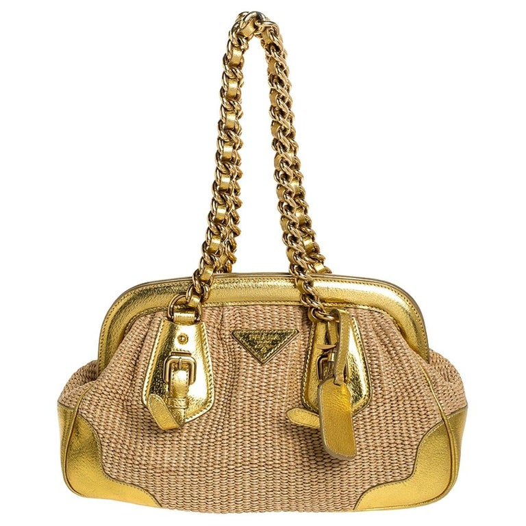 Prada Metallic Gold Straw and Leather Frame Bag For Sale
