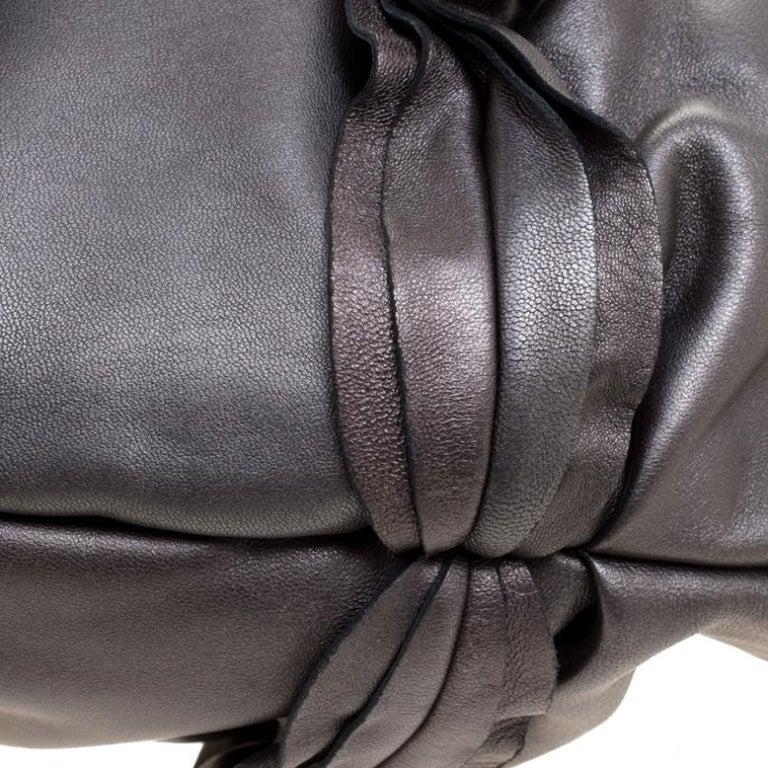 Prada Metallic Grey Leather Ruffle Hobo For Sale 6
