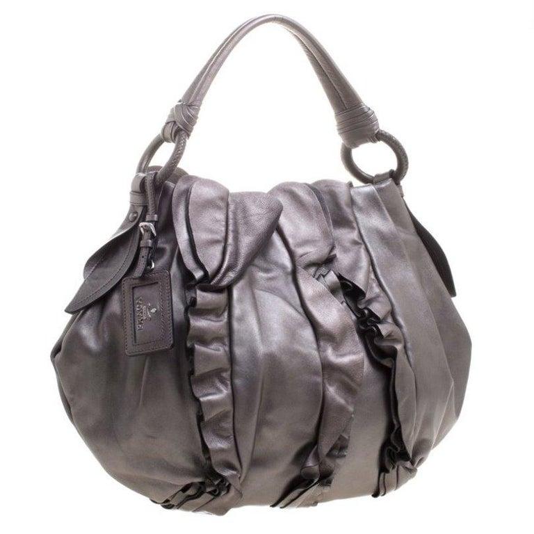 Women's Prada Metallic Grey Leather Ruffle Hobo For Sale