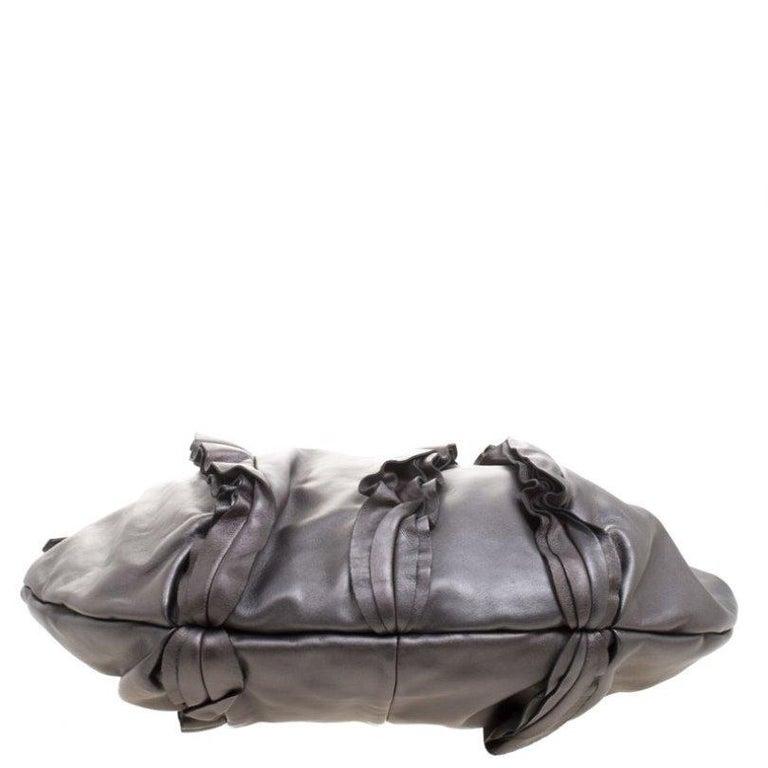 Prada Metallic Grey Leather Ruffle Hobo For Sale 1