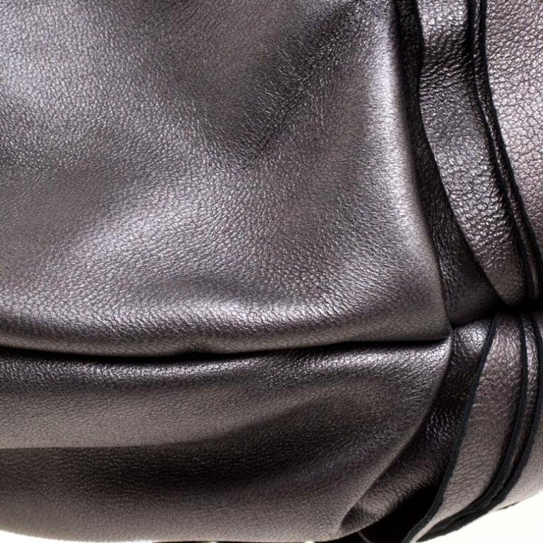 Prada Metallic Grey Leather Ruffle Hobo For Sale 2