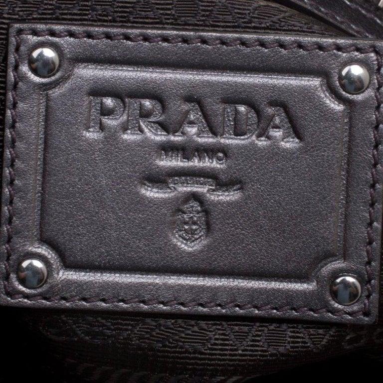 Prada Metallic Grey Leather Ruffle Hobo For Sale 3