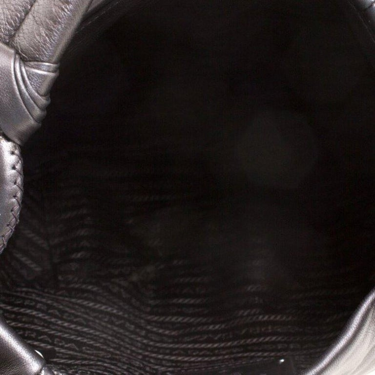 Prada Metallic Grey Leather Ruffle Hobo For Sale 4