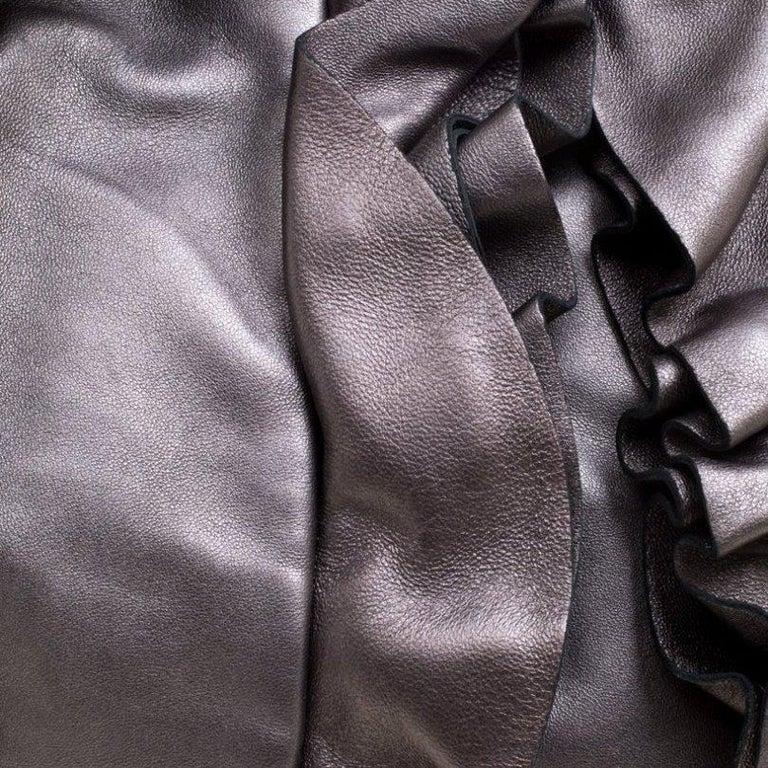 Prada Metallic Grey Leather Ruffle Hobo For Sale 5