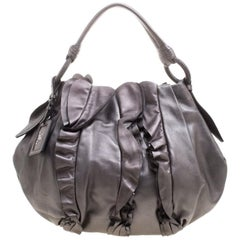 Prada Metallic Grey Leather Ruffle Hobo