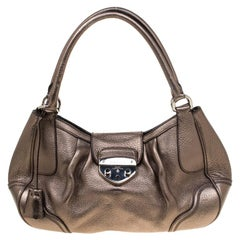 Prada Metallic Grey Leather Shoulder Bag