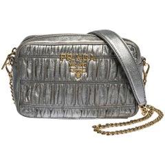Prada Metallic Grey Matelasse Leather Camera Shoulder Bag