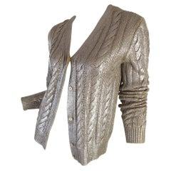 Prada Metallic Knit Cardigan