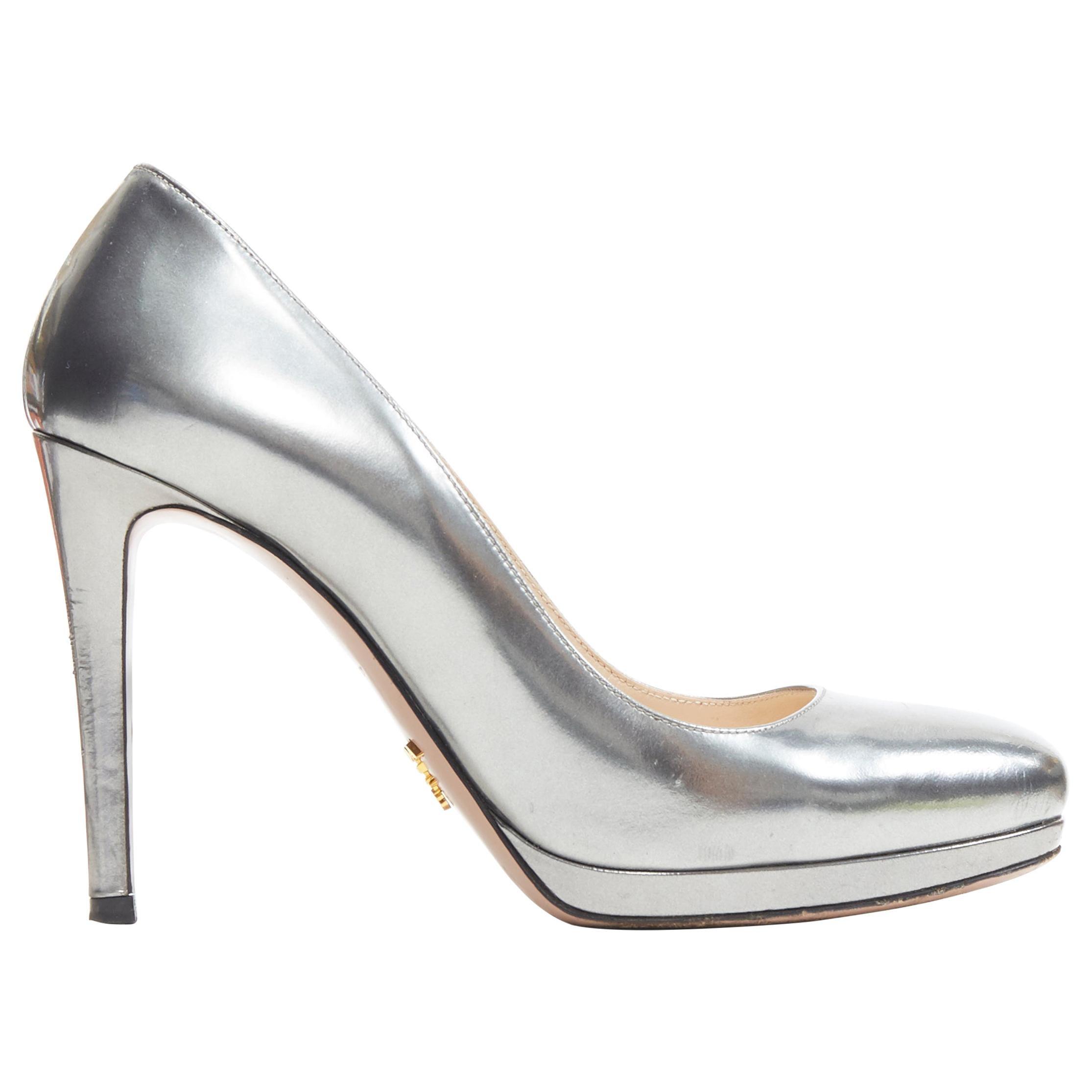 PRADA metallic mirrored silver leather round toe platform pump EU36